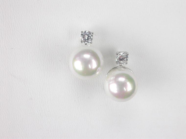 6ba1b05772cf Pendientes de perlas a presión con piedras preciosas - Amplia ...