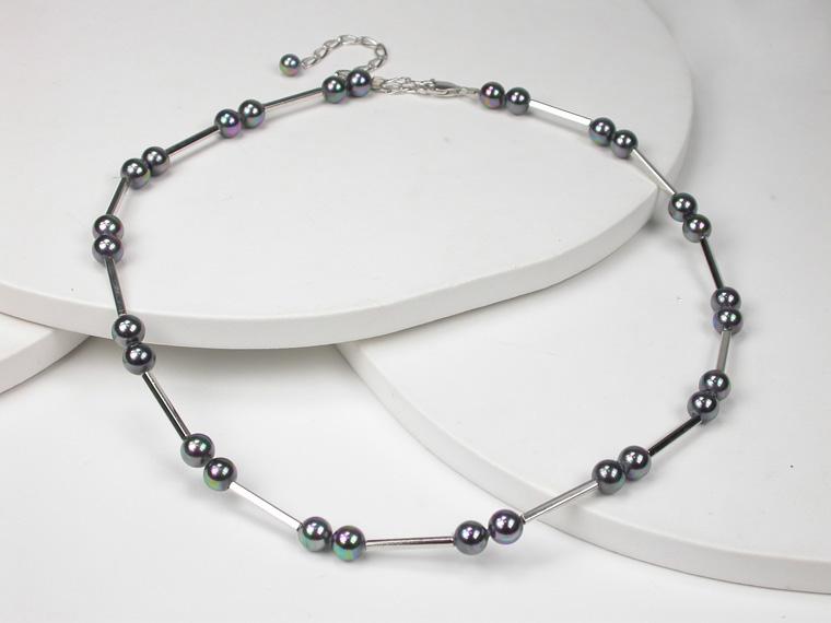 2592340f82e8 Collar de perlas negras con Plata